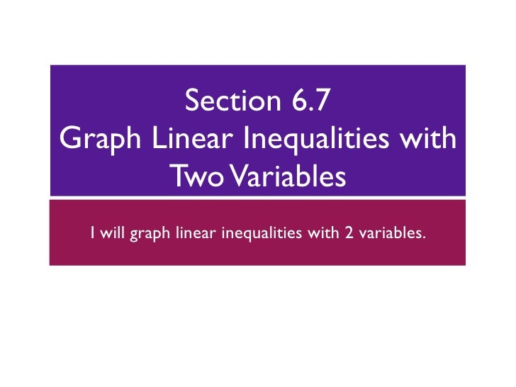 Section 6.7 Graph Linear Inequalities with        Two Variables   I will graph linear inequalities with 2 variables.