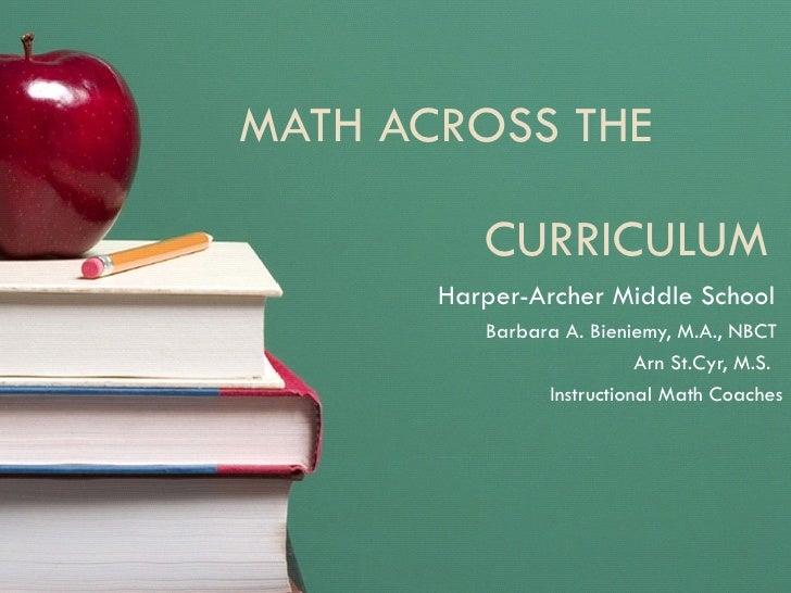 MATH ACROSS THE  CURRICULUM  Harper-Archer Middle School  Barbara A. Bieniemy, M.A., NBCT  Arn St.Cyr, M.S.  Instructional...