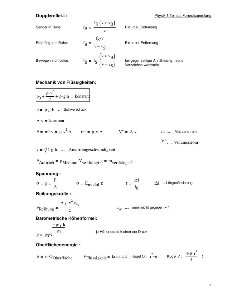 Dopplereffekt :                                                                         Physik 3.Teiltest FormelsammlungSe...