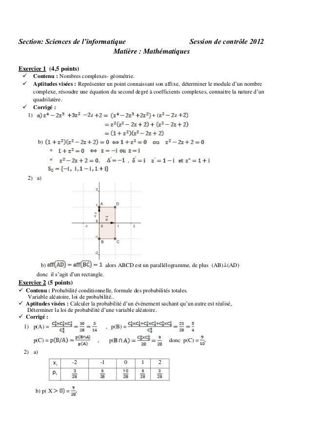 Section: Sciences de l'informatique Session de contrôle 2012 Matière : Mathématiques Exercice 1 (4,5 points)    Contenu ...