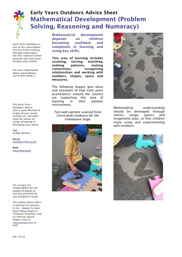 Early Years Outdoors Advice Sheet               Mathematical Development (Problem               Solving, Reasoning and Num...