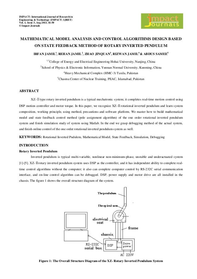 rotary inverted pendulum model Dynamic model of rotary inverted pendulum system and the method of identifying, controlling this system by an artificial neural network (ann.