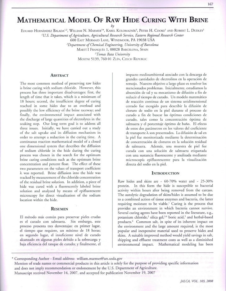 Mathematical model of raw hide curing with brine