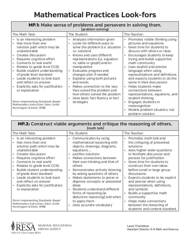 Mathematical Practices Look-fors MP.1: Make sense of problems and persevere in solving them. (problem solving)  The Math T...