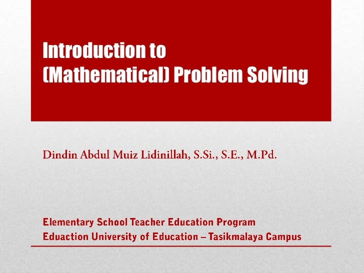 Introduction to(Mathematical) Problem Solving