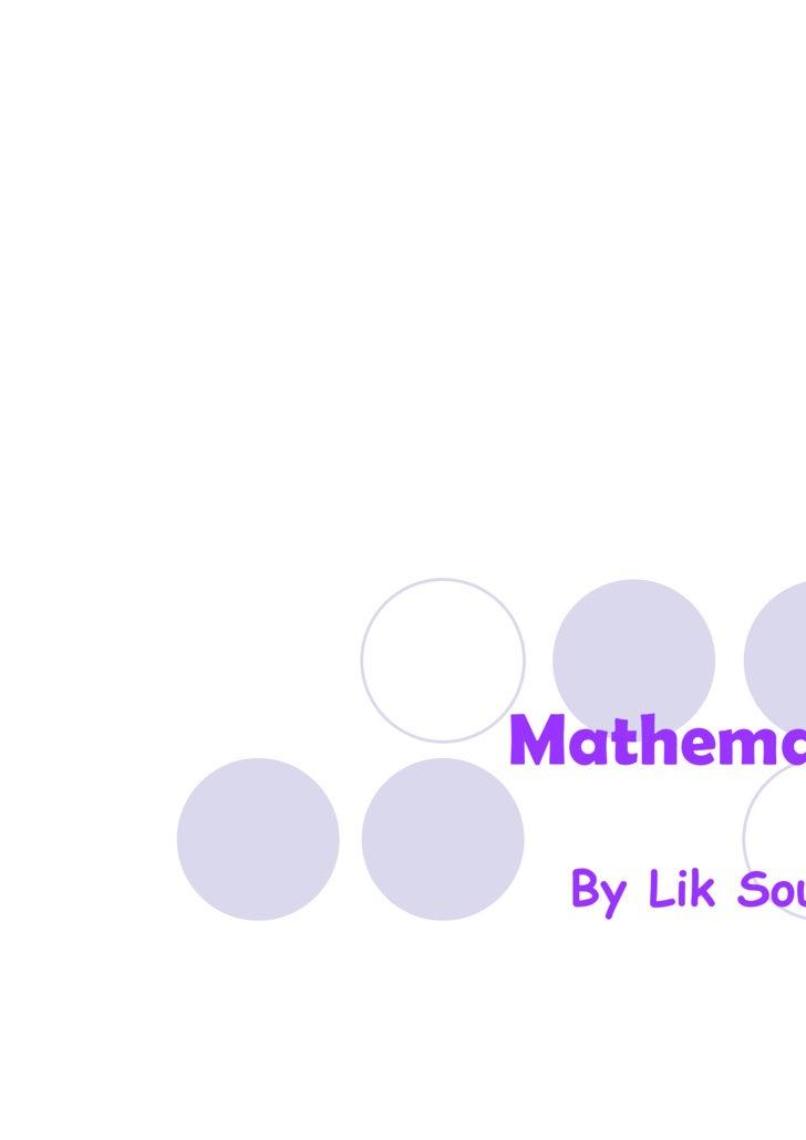 Mathematics By Lik Souhouy