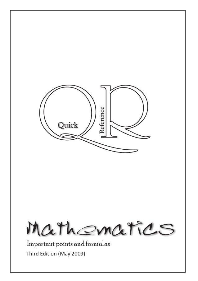 Mathematics important points and formulas 2009
