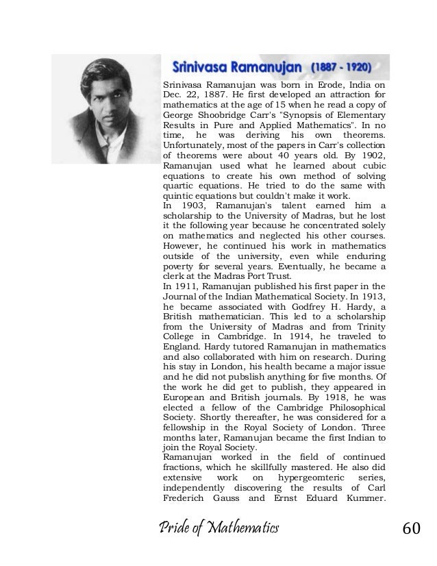 Srinivasa ramanujan essay in english