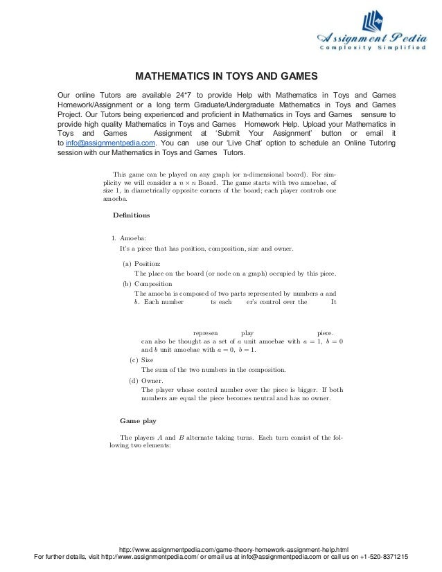 Mathematics In Toys And Games Homework Help