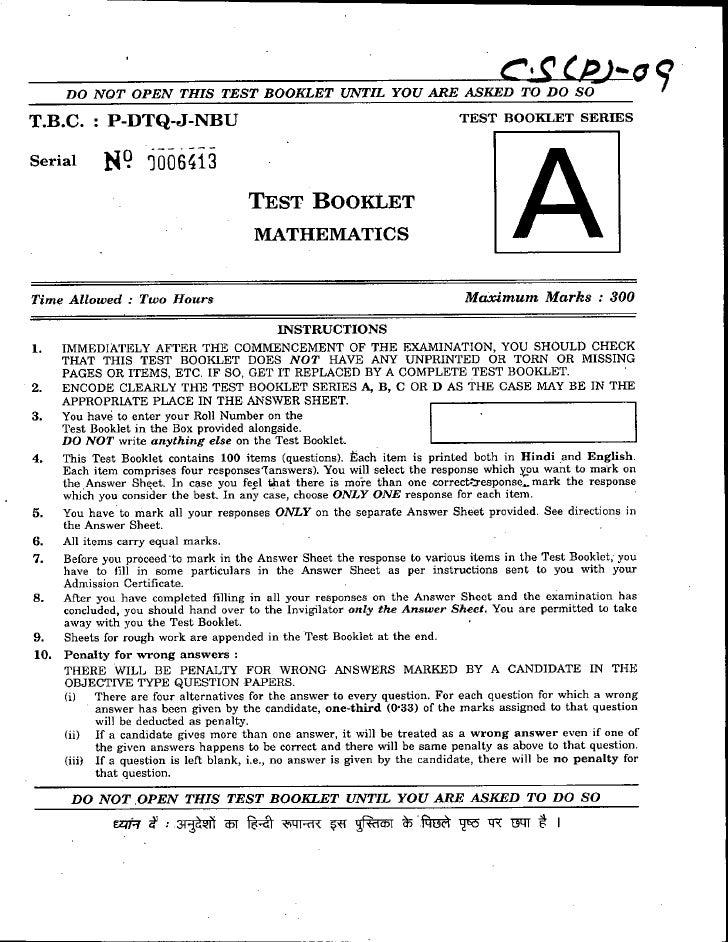 Mathematics pre 09