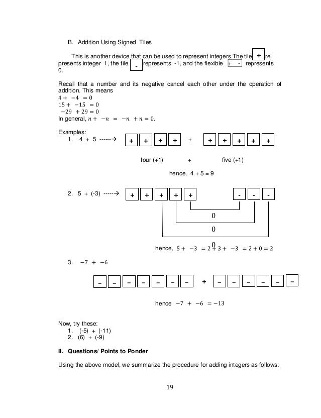 Free Worksheets operations with rational numbers worksheet : K TO 12 GRADE 7 LEARNING MODULE IN MATHEMATICS (Q1-Q2)