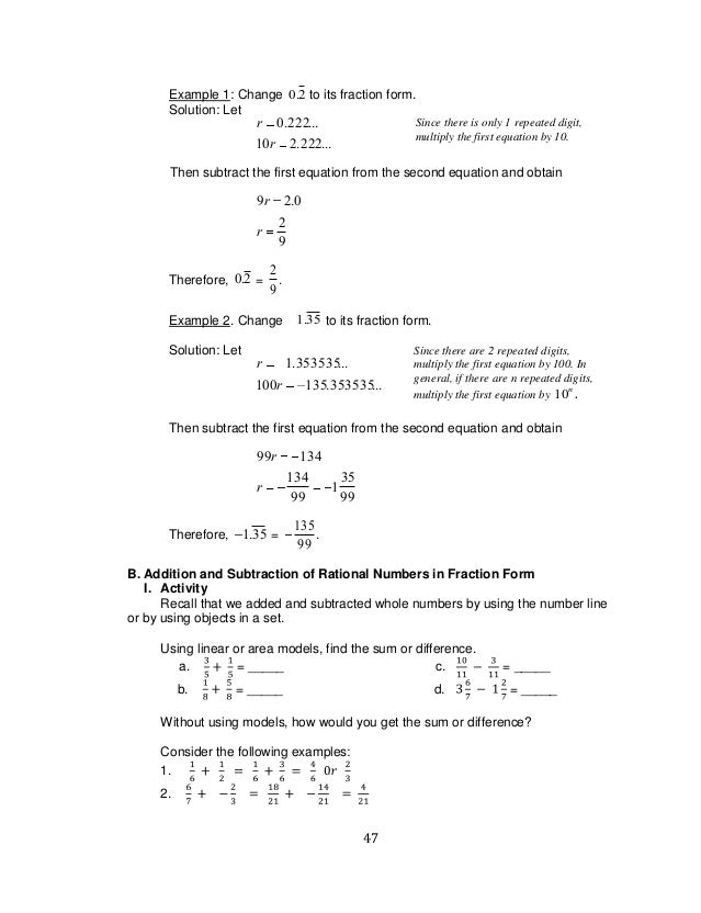 math worksheet : k to 12 grade 7 learning module in mathematics q1 q2  : Grade 7 A B C Subtraction Worksheet