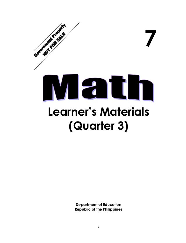 K TO 12 GRADE 7 LEARNING MODULE IN MATHEMATICS (Quarter 3)
