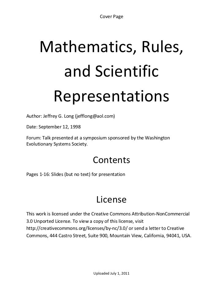 Cover Page        Mathematics, Rules,         and Scientific        Representations  Author: Jeffrey G. Long (jefflong@aol...
