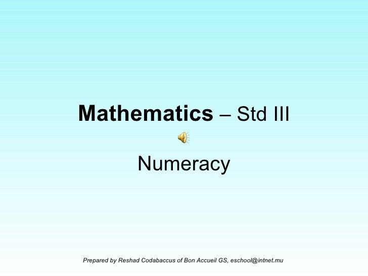 Mathematics  – Std III Numeracy