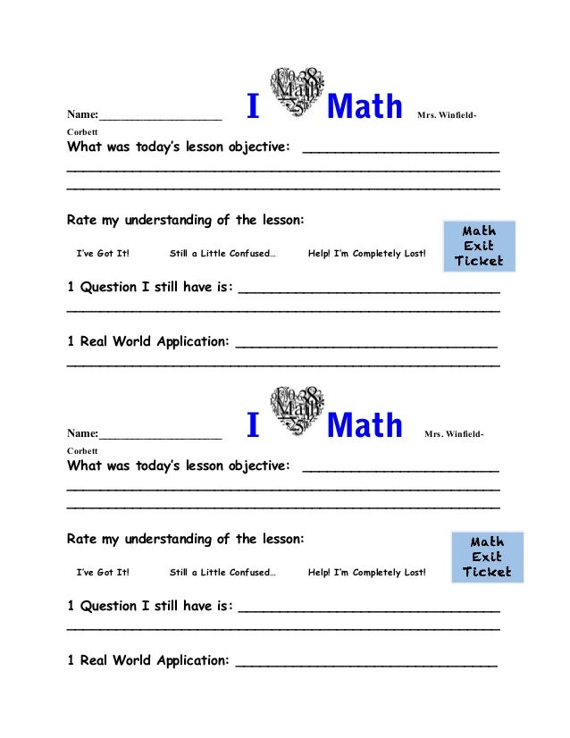 Math Exit Ticket on Technology Exit Slips