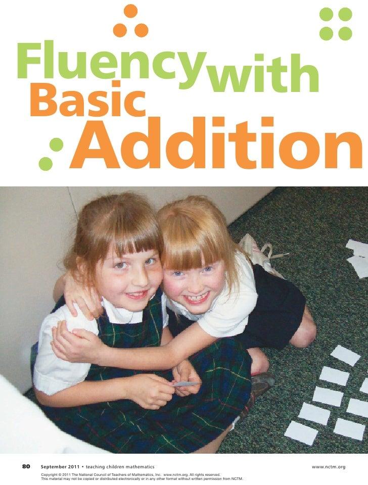 FluencywithBasic                       Addition80   September 2011 • teaching children mathematics                      ...
