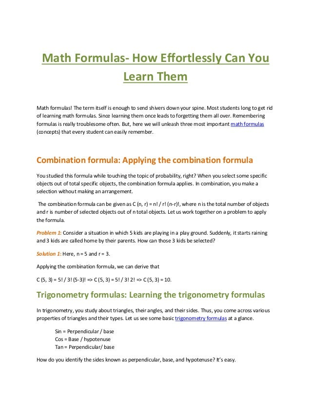 Math formulas  how effortlessly can you learn them