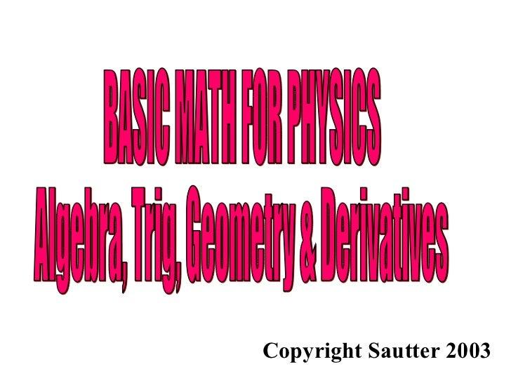 Math For Physics