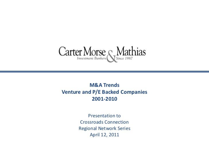 M&A Trends <br />Venture and P/E Backed Companies<br />2001-2010<br />Presentation to<br />Crossroads Connection <br />Reg...