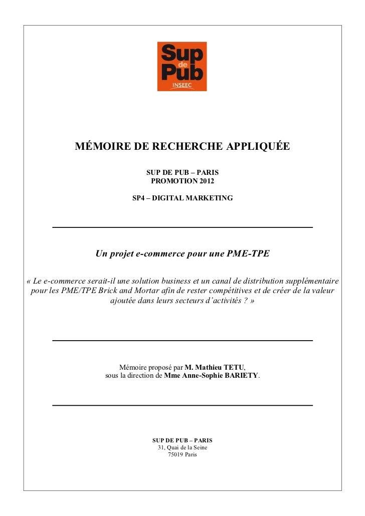 MÉMOIRE DE RECHERCHE APPLIQUÉE                                  SUP DE PUB – PARIS                                   PROMO...