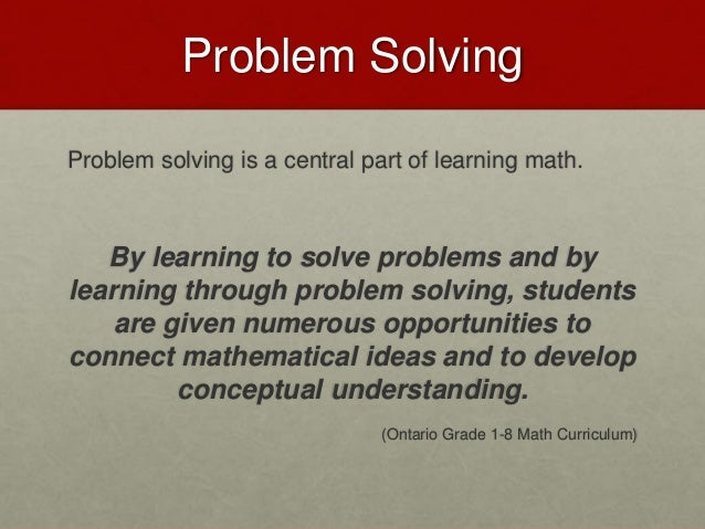Learning through problem solving
