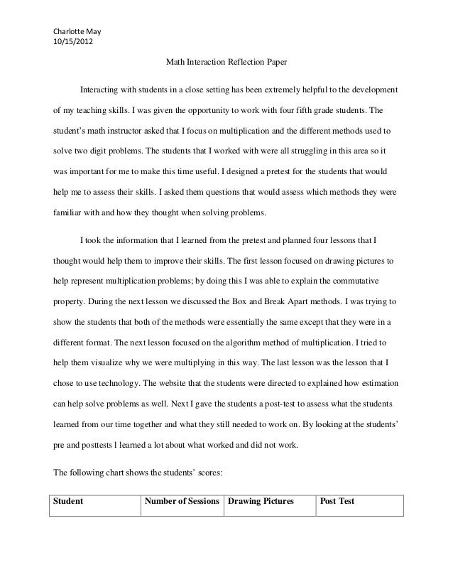 Help write a reflection paper for math