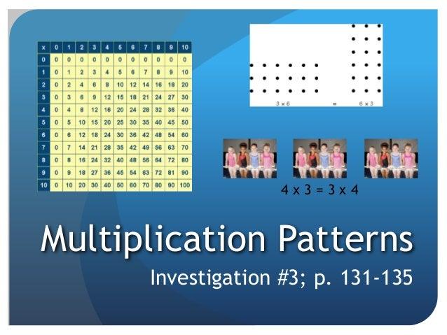 Multiplication Patterns Investigation #3; p. 131-135 4 x 3 = 3 x 4