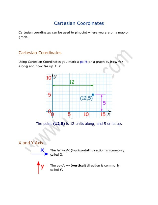 Cartesian Coordinates Cartesian coordinates can be used to pinpoint where you are on a map or graph.  Cartesian Coordinate...