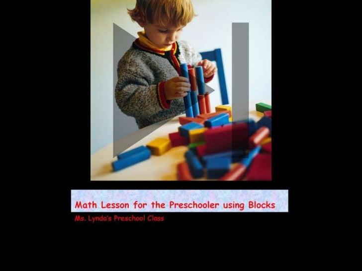 Math lesson for the preschooler using blocks