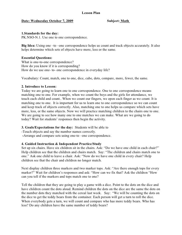 Lesson Plan  Date: Wednesday October 7, 2009                              Subject: Math   1.Standards for the day: PK.NSO-...