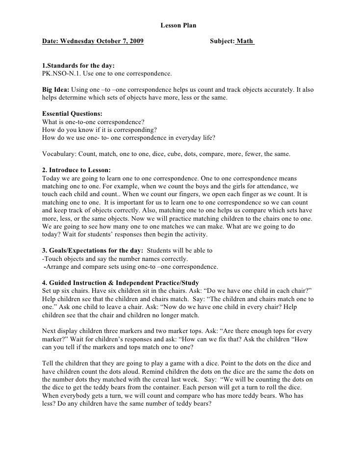 Math Lesson Plan Oct 7