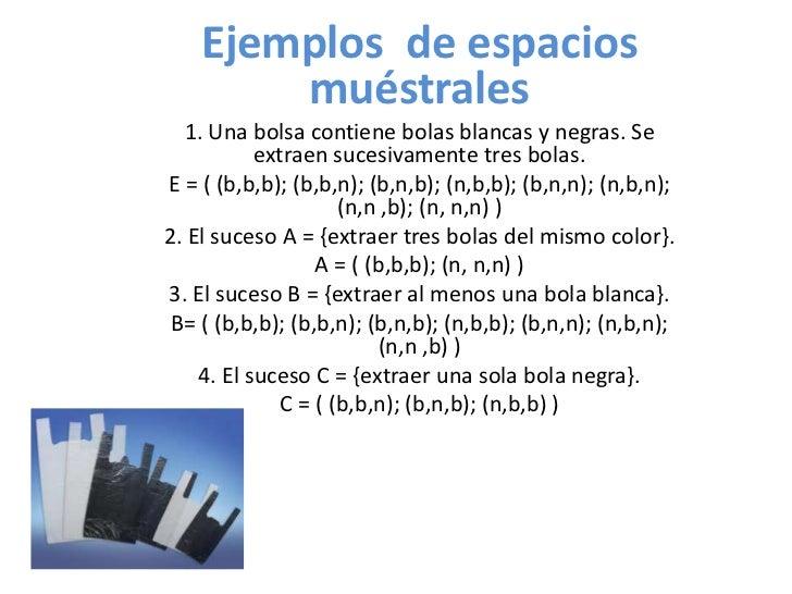 Ejemplos de espacios        muéstrales  1. Una bolsa contiene bolas blancas y negras. Se           extraen sucesivamente t...