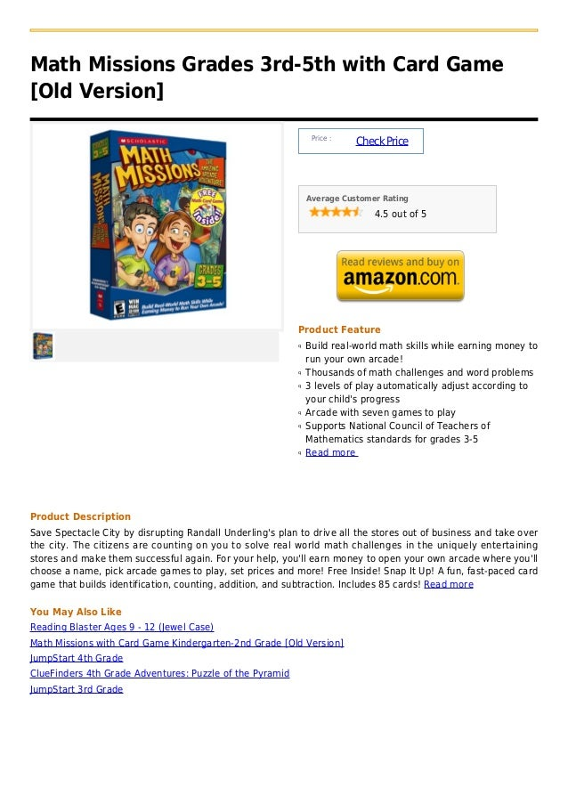Math missions grades 3rd 5th with card game [old version]