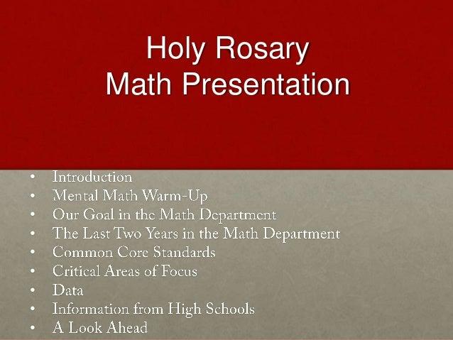 Holy Rosary    Math Presentation•••••••••