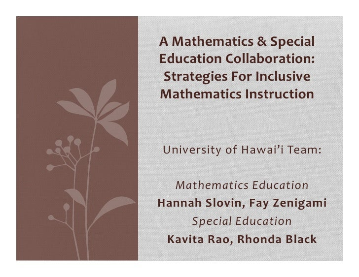 A Mathematics & Special        Education Collaboration:          Strategies For Inclusive        Mathe...