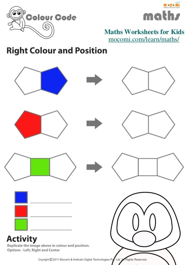 Mo Maths Worksheets : Right colour and position maths worksheets for kids