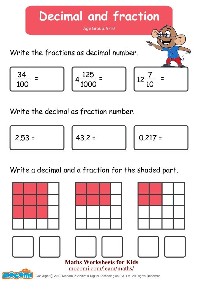 math worksheet : decimal and fraction  maths worksheets for kids  mo i  : Writing Fractions As Decimals Worksheet