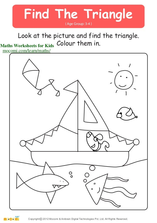 ... and find the triangle. Colour them in. Maths Worksheets for K