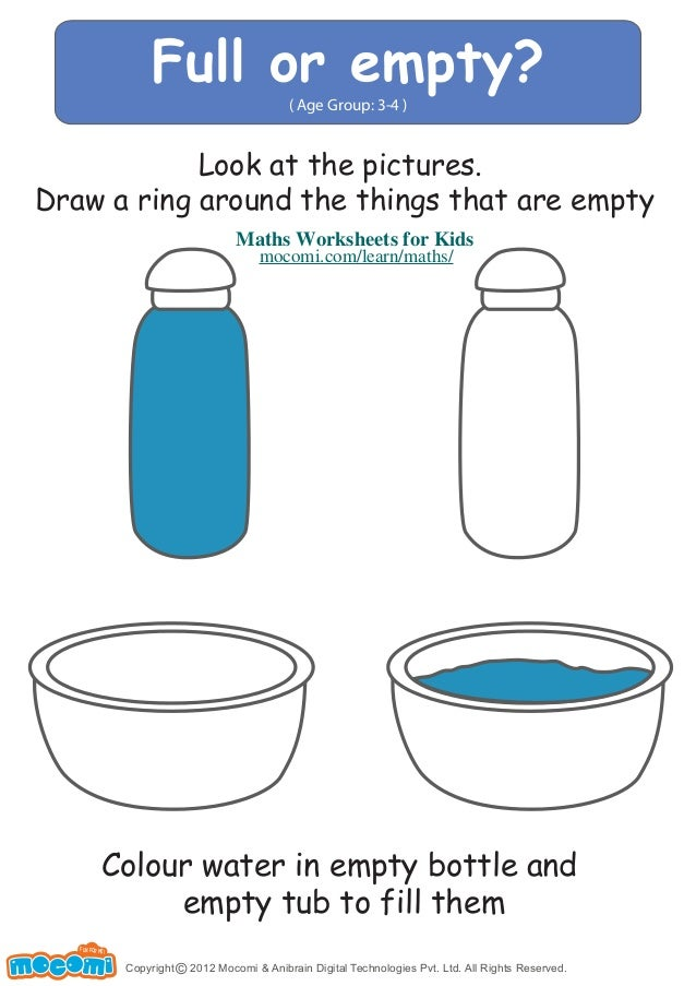 Full or empty? ( Age Group: 3-4 ) Look at the pictures. Draw a ring ...