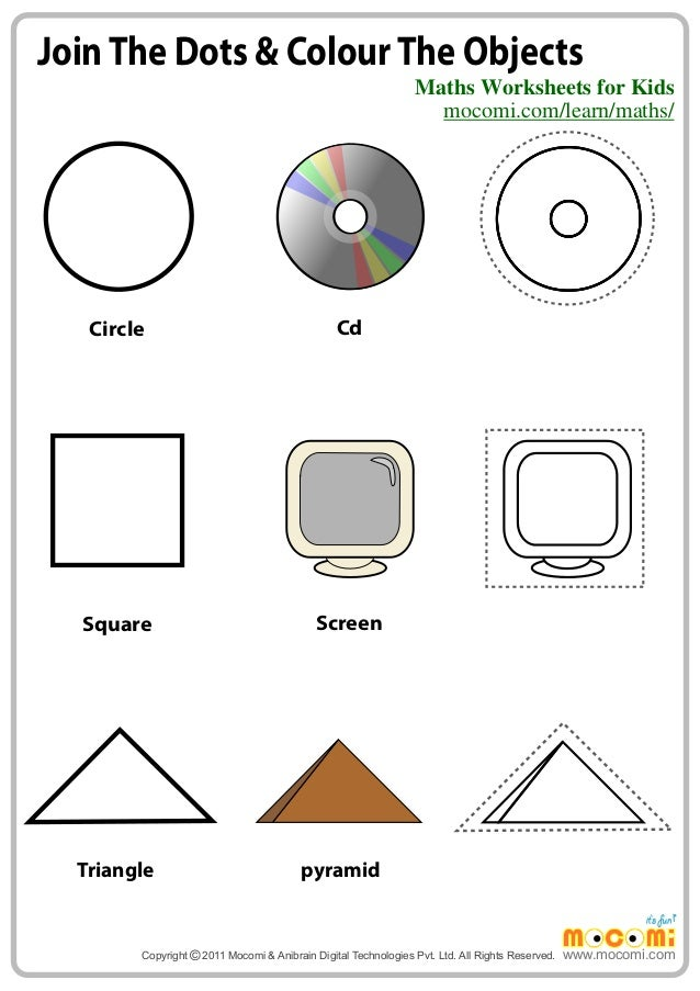 Join The Dots u0026 Colour The Objects u2013 Maths Worksheets for ...