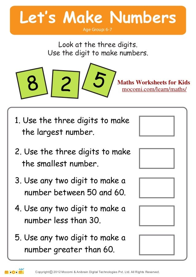 ... Look at the three digits. Use the digit to make numbers. 8 2 5 Maths