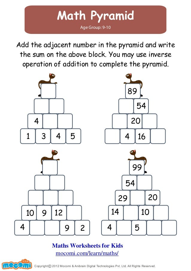 Pyramid Addition Worksheets Pyramid Puzzle Worksheets Activity – Ks2 Addition Worksheets