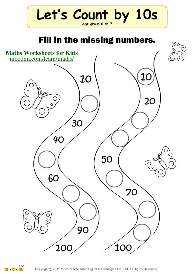 Let's Count by 10s – Maths Worksheets for Kids – Mocomi.com