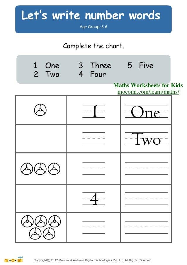 Let's write number words – Maths Worksheets for Kids – Mocomi.com