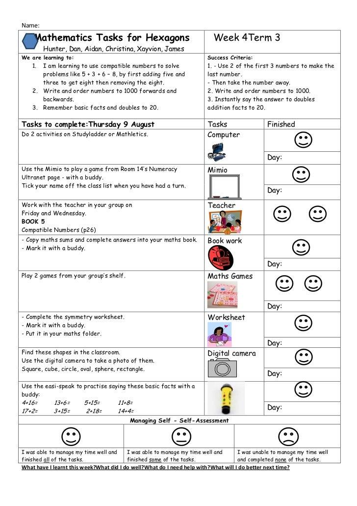 Maths planning hexagons week 4 term 3
