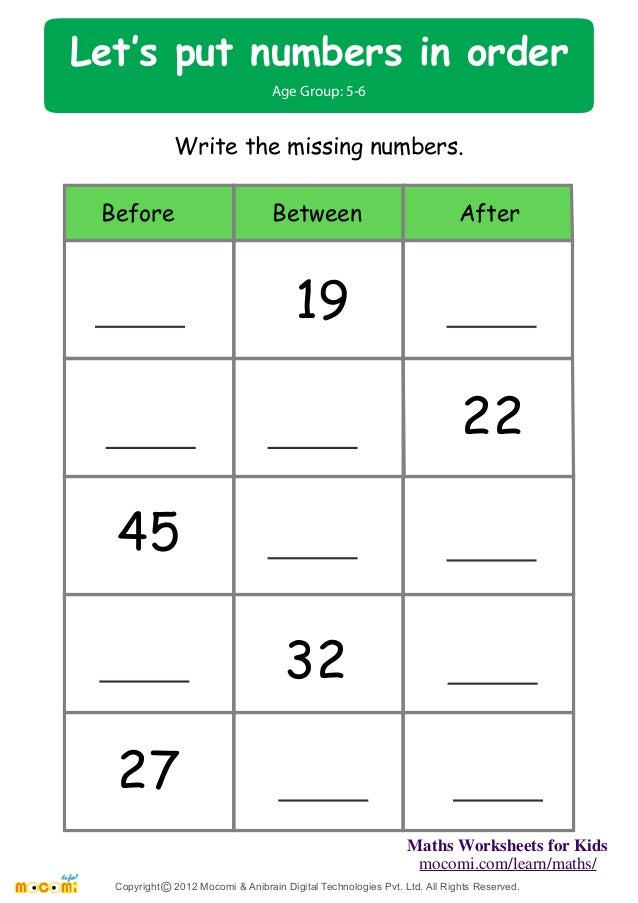 math worksheet : let s put number in order  maths worksheets for kids  mo i  : Before And After Worksheets For Kindergarten