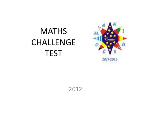MATHS CHALLENGE TEST 2012