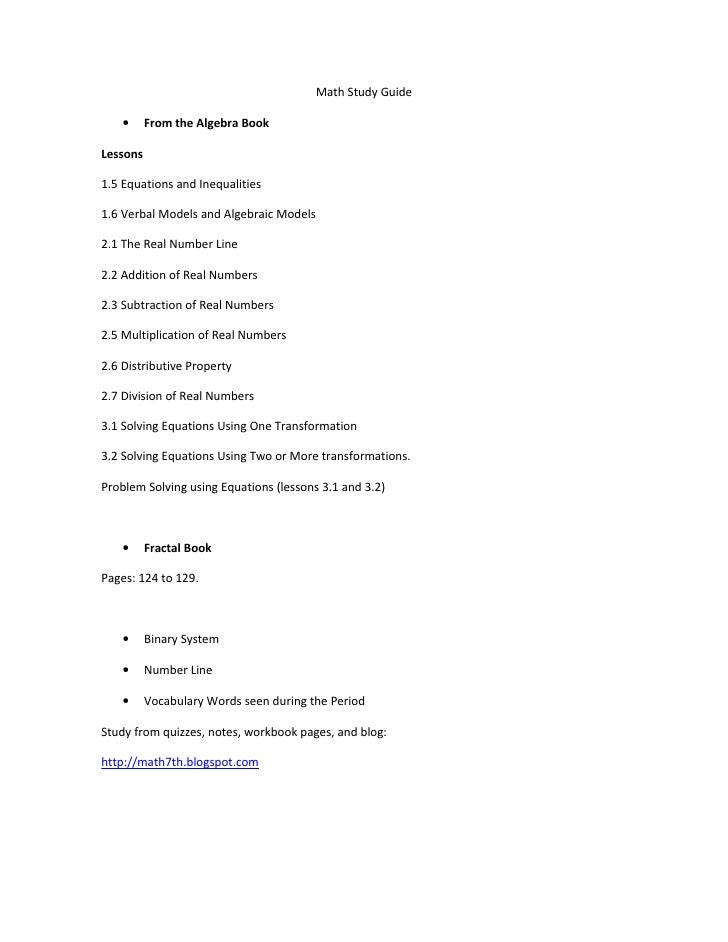 Math Study Guide    •     From the Algebra BookLessons1.5 Equations and Inequalities1.6 Verbal Models and Algebraic Models...