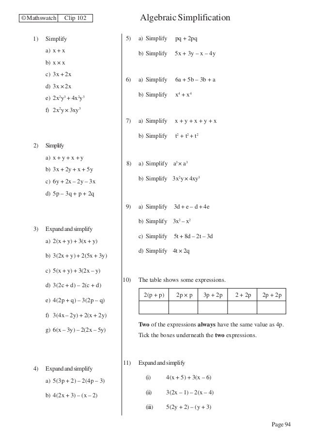 linear expressions worksheets